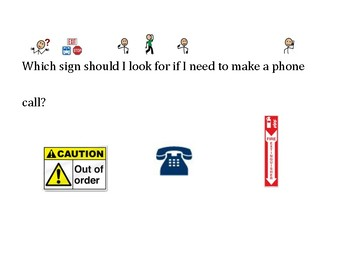 Functional Words & Survival Signs-Phone, Out of Order, Exit, Fire Extinguisher