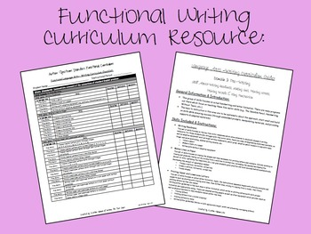 Functional Writing Curriculum Resource for ABA, Autism, Special Education