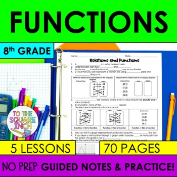 Functions- 8th Grade Math Guided Notes and Activities