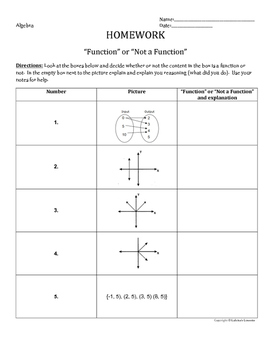 Functions-Activity Sheet, Exit Ticket, Homework
