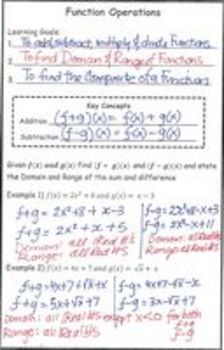 Functions Lesson 2 Operations  add, subtract, multiply, divide and composite