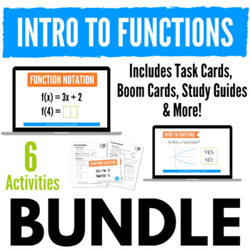 Functions Bundle - Study Guides, Task Cards, Boom Cards + Fun Activity