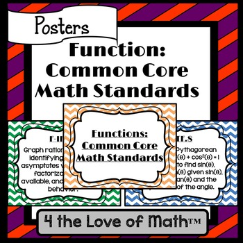 Functions Common Core Math Standard Posters {Chevron}