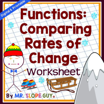 Functions: Comparing Rates of Change PDF Worksheet Common Core 8.F.A.2 Go Math