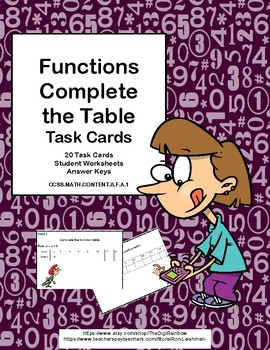 Functions-Complete the Table-20 Task Cards