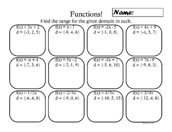 Functions, Domain and Range