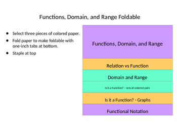 Functions, Domain, and Range Foldable