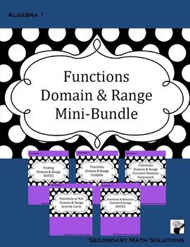Functions, Domain and Range Mini-Bundle