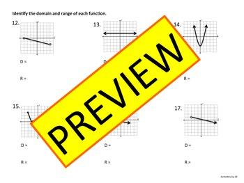 Functions Domain and Range Practice (Algebra)
