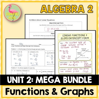 Algebra 2: Functions Equations and Graphs Bundle