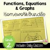 Functions Equations Graphs Homework (Algebra 2 - Unit 2)
