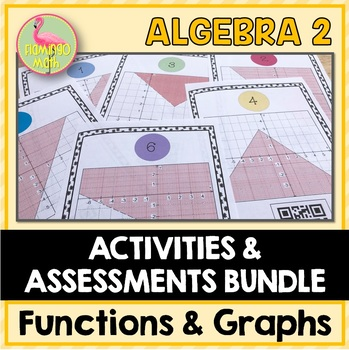 Algebra 2: Functions Equations and Graphs Review-Quiz-Test Bundle