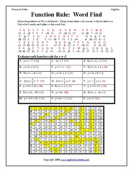 Functions: Evaluating Function Rules Word Find