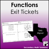 Functions Exit Tickets (or Warm-ups) (A2A, A12A, A12B)