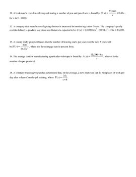 Functions for Calculus Word Problems