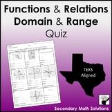 Functions, Domain & Range Quiz (A2A, A12A)