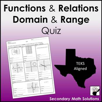 Functions, Functional Relationships, Domain & Range Quiz