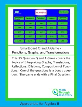 Algebra II Smartboard Q and A Game - Functions, Graphs, and Transformations