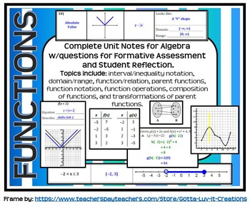 Functions Guided Notes for Algebra (Complete Unit)
