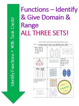 Functions - Identify - Worksheet and Sort Activity - PACKET (1-3)