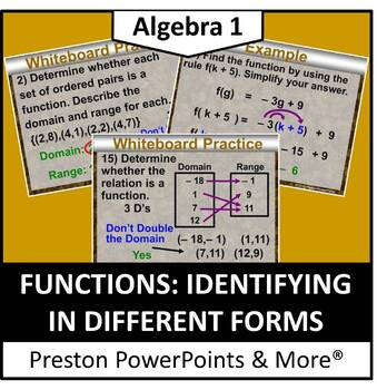 Functions: Identifying in Different Forms in PowerPoint Presentation