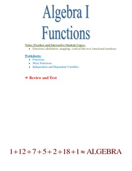 Functions, Independent and Dependent Variables