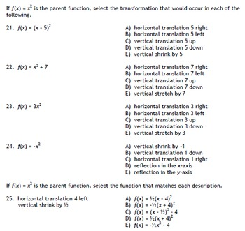Functions Multiple Choice (Algebra)