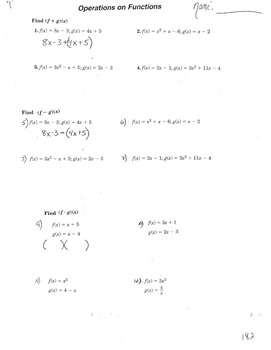 Functions Operations Addition, Sub, Multiplying and (f o g)