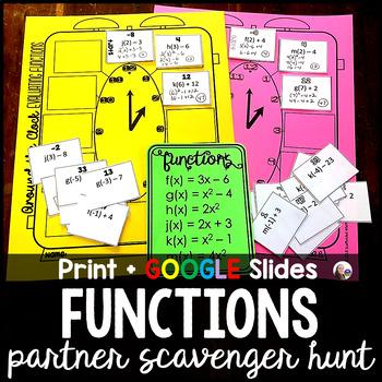 Evaluating Algebraic Functions Partner Scavenger Hunt Activity