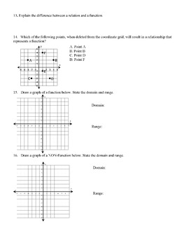 Functions Quiz (2 Forms) 20 questions each