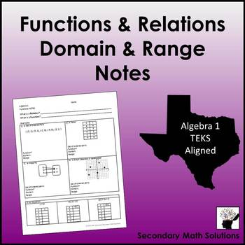 Functions & Relations, Domain & Range Notes (A12A)