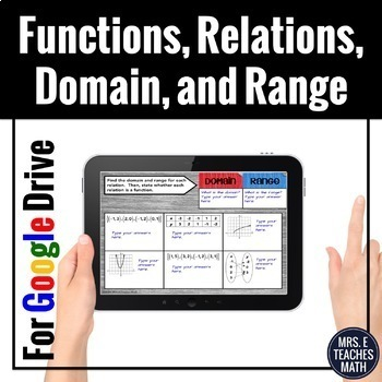 Functions, Relations, Domain, and Range Digital Activity