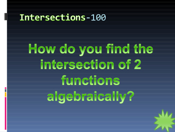 Functions Review Jeopardy PPT Game