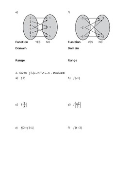 Functions Review with Graphs and Mapping Diagrams
