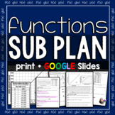 Functions Sub Plan for Algebra - print & GOOGLE Slides for distance learning