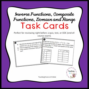 Inverse Functions, Composite Functions, Domain and Range Task Cards
