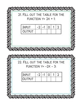 Functions Task Cards: solving equations, inequalities, graphing linear functions