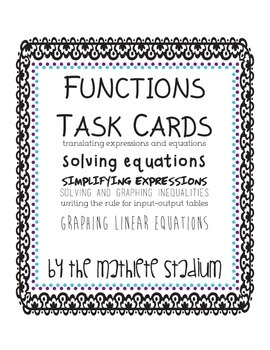 Functions Task Cards: solving equations, inequalities, gra
