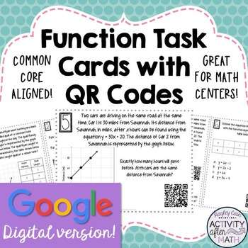 Functions Task Cards with QR Codes GOOGLE Slide Version