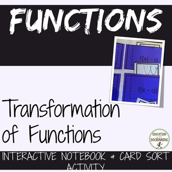 Transformations of Functions Interactive Notebook and Card