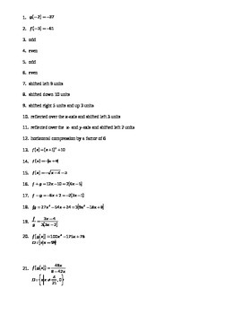 Functions & Transformations Test