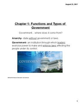Functions/Types of Governments Notes