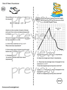 FUNCTIONS Unit Test CC Algebra 1