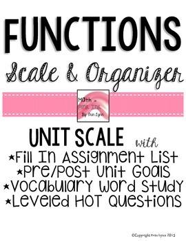 Functions Unit Scale and Organizer Go Math Marzano