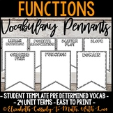 Functions Word Wall - DIY Pennant Banner - 8th Grade