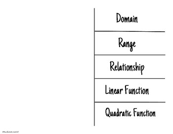 Functions Vocabulary Foldable
