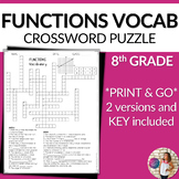 Functions Vocabulary Math Crossword Puzzle
