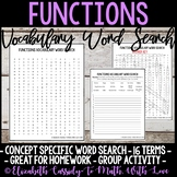 Math Vocabulary Word Search - Functions Unit