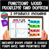 Functions: Word Problems and Domain Boom Cards, Google Qui