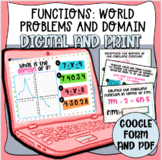 Functions: Word Problems and Domain Values Task Cards (Dig